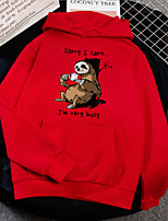 cheap -Women's Daily Pullover Hoodie Sweatshirt Animal Letter Basic Hoodies Sweatshirts  Black Purple Red