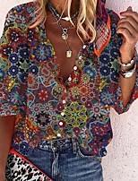 cheap -Women's Blouse Shirt Graphic Prints Long Sleeve Button Print V Neck Tops Loose Basic Boho Basic Top Blue