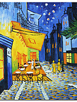 cheap -Famous aritist hand painted Van Gogh Cafe Terrace At Night Oil Painting on Canvas Wall art paintings for room wall decoration Rolled Without Frame