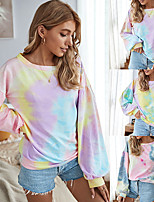 cheap -Women's Sweatshirt Tie Dye Crew Neck Color Block Sport Athleisure Top Long Sleeve Warm Soft Oversized Comfortable Everyday Use Casual Exercising General Use