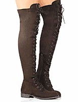 cheap -women& #39;s over the knee low heel lace up tall boots