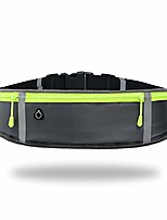 cheap -running-waist-belts-with-headphone-hole fits all phone under 6, slim fit jogging belt with three bounce-free zip pockets, reflective strips, fanny pack for workouts, sports. & #40;gray& #41;