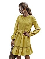 cheap -Women's A-Line Dress Knee Length Dress - Long Sleeve Solid Color Lace Ruffle Patchwork Spring Fall Casual Going out Slim 2020 Yellow S M L XL
