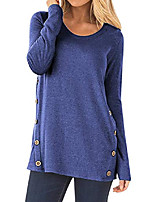 cheap -womens round neck long sleeve casual button blouse tunic tops with faux suede light blue x-large