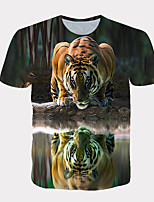 cheap -Men's Daily T-shirt Graphic Print Short Sleeve Tops Streetwear Exaggerated Round Neck Rainbow