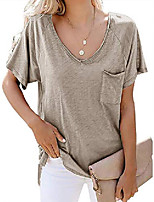 cheap -womens short sleeve t shirt basic tee tops v neck loose summer shirts with pocket side split