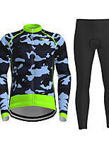 cheap -21Grams Men's Long Sleeve Cycling Jersey with Tights Winter Polyester Green Novelty Camo / Camouflage Bike Jersey Tights Clothing Suit Breathable Quick Dry Moisture Wicking Back Pocket Sports Novelty