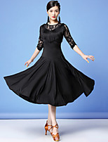 cheap -Latin Dance Dress Lace Tassel Split Joint Women's Training Performance 3/4 Length Sleeve High Lace Milk Fiber