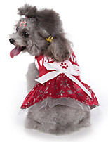 cheap -Dog Halloween Costumes Costume Dress Snowflake Fashion Cute Christmas Party Dog Clothes Breathable Red Costume Polyester S M L XL