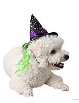 cheap -Dog Cat Halloween Costumes Bandanas & Hats Bowknot Witch Cute Cool Christmas Party Dog Clothes Breathable Purple Costume Polyster One-Size
