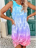 cheap -Women's Shift Dress Short Mini Dress - Sleeveless Tie Dye Summer Sexy Loose 2020 Purple Red Yellow Green Light Blue S M L XL XXL