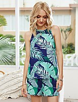 cheap -Women's Basic Floral Two Piece Set Tank Pant Lace up Print Tops / Loose