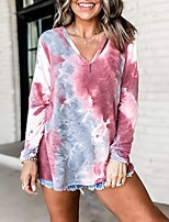 cheap -Women's Daily Pullover Sweatshirt Tie Dye V Neck Basic Hoodies Sweatshirts  Loose Blue Wine Brown