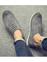 cheap -Men's Fall Casual Daily Oxfords Walking Shoes Leather Wear Proof Black / Gray