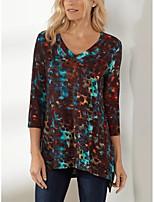 cheap -Women's Blouse Shirt Tie Dye Print V Neck Tops Basic Basic Top Wine Gray Light Blue