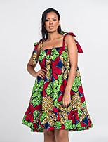 cheap -Women's Swing Dress Short Mini Dress - Sleeveless Print Ruffle Print Summer Strapless Boho Holiday Loose 2020 Blushing Pink Green S M L XL