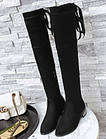 cheap -Women's Boots Wedge Heel Pointed Toe Classic Daily Bowknot Solid Colored PU Over The Knee Boots Black