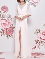 cheap -A-Line Empire Sexy Engagement Formal Evening Dress Illusion Neck Short Sleeve Floor Length Chiffon with Sash / Ribbon Split 2020