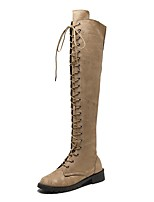 cheap -Women's Boots Cuban Heel Round Toe Casual Daily Lace-up Solid Colored PU Over The Knee Boots Black / Purple / Red