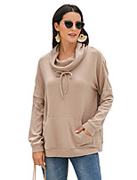 cheap -Women's Daily Pullover Sweatshirt Solid Color Plain Basic Hoodies Sweatshirts  Loose Blue Brown Beige