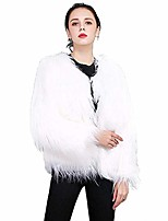 cheap -women's faux fur coat long sleeve fluffy warm winter coat solid color fashion jacket white