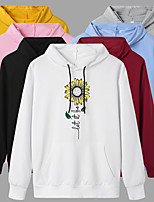 cheap -Women's Hoodie Cartoon Hoodie Flower Sport Athleisure Pullover Long Sleeve Warm Soft Oversized Comfortable Everyday Use Exercising General Use