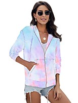cheap -Women's Daily Zip Up Hoodie Sweatshirt Tie Dye Front Pocket Basic Hoodies Sweatshirts  Purple Blushing Pink Green