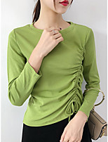 cheap -Women's Going out T-shirt Solid Colored Long Sleeve Round Neck Tops Cotton Basic Basic Top White Black Green