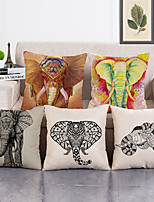 cheap -Set Of 5 Pure Linen Cushion Cover Cute Bird Pillow Cover Flora and Fauna for Home Chair Sofa Decorative Pillowcases 45x45 cm
