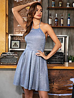 cheap -Women's Strap Dress Knee Length Dress - Sleeveless Solid Color Summer Halter Neck Casual Party Loose 2020 Blue S M L XL