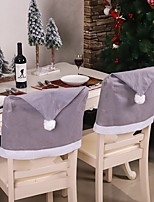 cheap -Christmas Chair Covers Set of 2, Santa Hat Chair Back Suit Slipcovers for Home Kitchen Dining Room Holiday Party Décor (Grey)