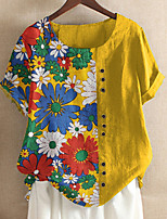 cheap -Women's T-shirt Floral Flower Print Round Neck Tops Basic Basic Top Yellow Green