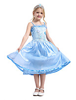 cheap -Princess Elsa Flapper Dress Cosplay Costume Outfits Girls' Movie Cosplay Active Blue Dress Headwear Halloween Children's Day Masquerade Polyester Organza