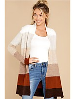 cheap -Women's Basic Knitted Color Block Cardigan Long Sleeve Sweater Cardigans Open Front Fall Winter Rainbow
