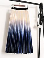 cheap -Women's Daily Wear Basic Midi Skirts Color Block Pleated / Slim