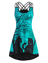 cheap -Women's Strap Dress Knee Length Dress - Sleeveless Print Animal Print Summer Boat Neck Casual Sexy Going out Slim 2020 White Purple Green S M L XL XXL