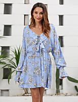 cheap -Women's A-Line Dress Short Mini Dress - Long Sleeve Floral Ruffle Patchwork Print Fall V Neck Casual Elegant Cotton Slim 2020 Light Blue S M L XL
