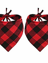 cheap -2 pcs dog bandana christmas pet triangle scarf accessories bibs red black plaid