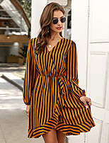 cheap -Women's A-Line Dress Knee Length Dress - Long Sleeve Striped Print Spring V Neck Casual Daily Slim 2020 Red Yellow Army Green S M L XL