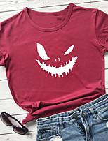 cheap -Women's Halloween Shirt Graphic Prints Print Round Neck Tops 100% Cotton Basic Halloween Basic Top White Black Purple
