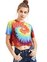 cheap -women's tie dye print round neck short sleeve crop t-shirt top xx-large multicolor