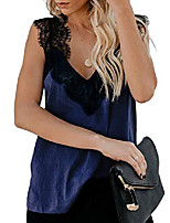 cheap -womens solid v neck fashion lace strappy spaghetti cami tee beach summer tanks tops vest blouse shirts blue us8-10 medium