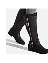 cheap -Women's Boots Cuban Heel Round Toe Casual Basic Daily Solid Colored PU Mid-Calf Boots Walking Shoes Black / Blue / Brown