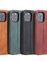 cheap -Case For iPhone 12 Card Holder  Shockproof Flip Full Body Cases Solid Colored PU Leather vintage
