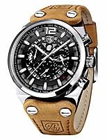 cheap -benyar - wrist watch for men, leather strap watches quartz movement, waterproof analog chronograph watches litbwat