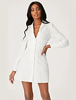 cheap -Women's Shirt Dress Short Mini Dress - Long Sleeve Solid Color Spring Summer Shirt Collar Sexy Slim 2020 White S M L