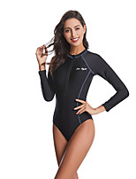 cheap -Women's One Piece Swimsuit Swimwear Breathable Quick Dry Long Sleeve Front Zip - Swimming Surfing Water Sports Autumn / Fall Spring Summer / Stretchy