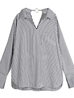 cheap -Women's Blouse Shirt Striped Long Sleeve Cut Out V Neck Tops Loose Business Basic Top Black Blue