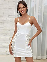 cheap -Women's Strap Dress Short Mini Dress - Sleeveless Solid Color Lace Backless Ruched Summer V Neck Sexy Holiday Going out Slim 2020 White One-Size
