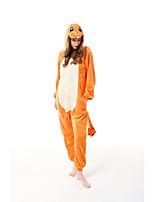 cheap -Adults' Kigurumi Pajamas Dragon Onesie Pajamas Flannelette Yellow Cosplay For Men and Women Animal Sleepwear Cartoon Festival / Holiday Costumes